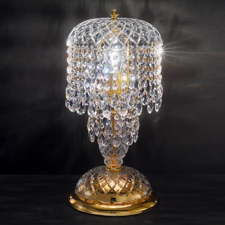 """Signorini"" large venetian crystal bedside lamp - 1 light - transparent with Asfour venetian crystal"