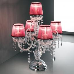 """Signorini"" venetian crystal table lamp with lampshades - 4+1 lights - transparent with Asfour venetian crystal"