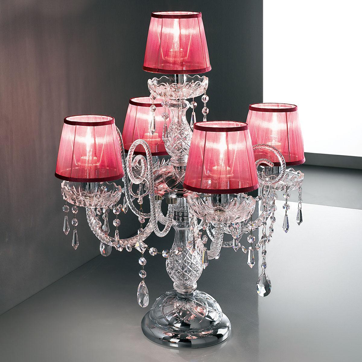 """""""Signorini"""" lampe de table vénitienne en cristal avec abat-jour - 4+1 lumières - transparent avec Asfour cristal"""