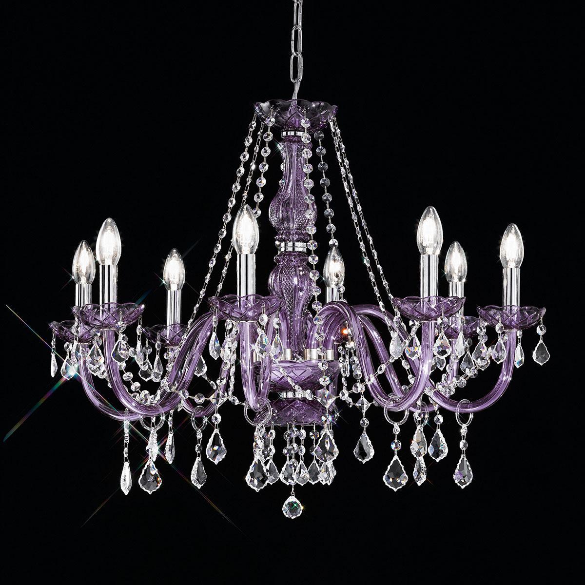 """""""Brindisi"""" lustre vénitienne en cristal - 8 lumière - violet"""