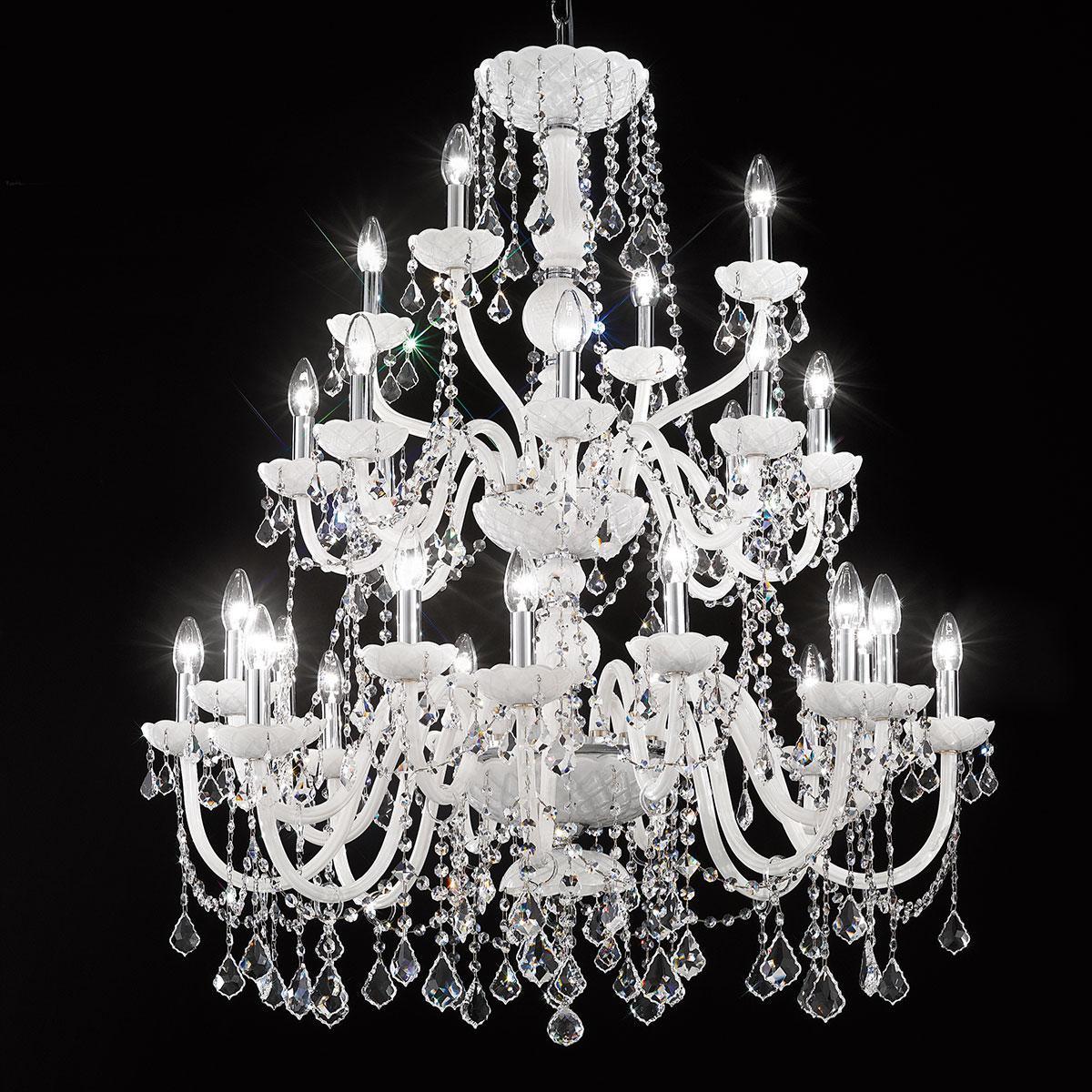 """""""Brindisi"""" araña grande en cristal veneciano - 16+8+4 luces - blanco"""