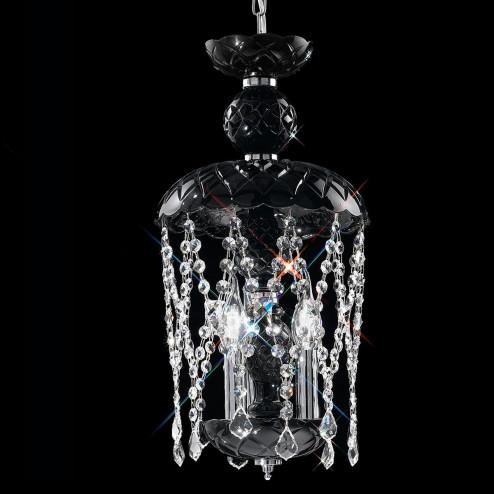 """""""Brindisi"""" suspension vénitienne en cristal - 3 lumières - noir avec transparent pendentifs"""