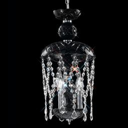 """Brindisi"" venetian crystal pendant light - 3 lights - black with transparent pendants"