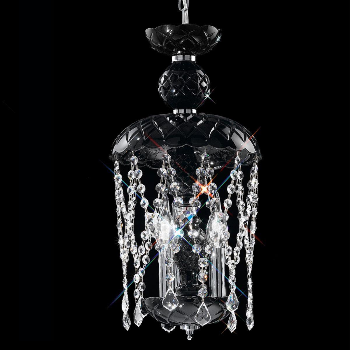 """""""Brindisi"""" venezianischer kristall hangeleuchte - 3 flammig - schwarz mit transparent Verfügung"""