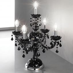 """Brindisi"" venetian crystal table lamp - 4+1 lights - black with black pendants"