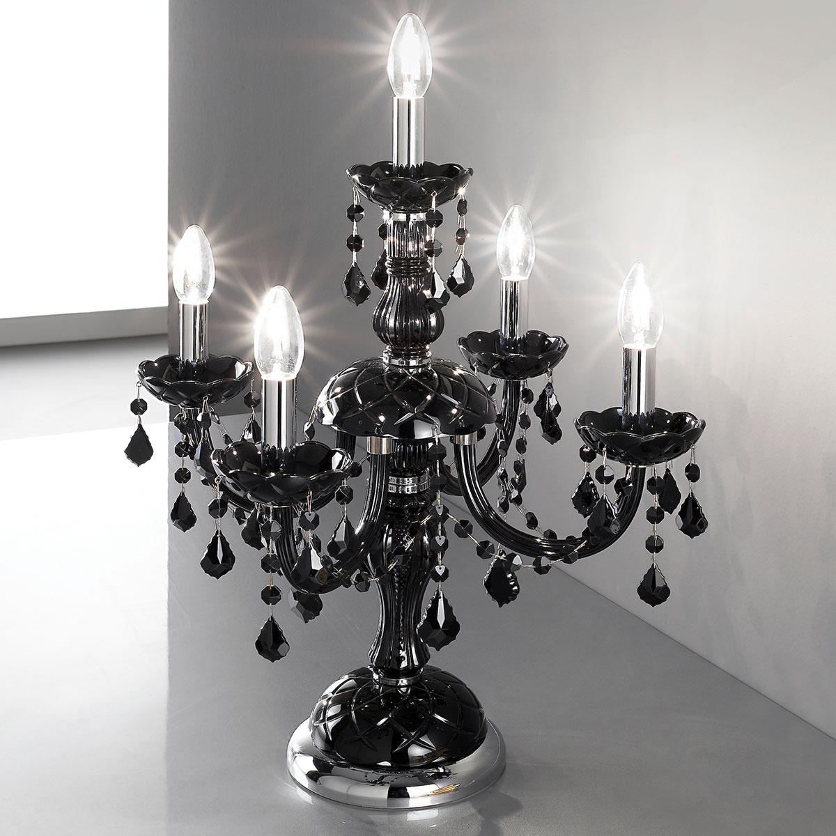 """""""Brindisi"""" lampe de table vénitienne en cristal - 4+1 lumières - noir avec noir pendentifs"""