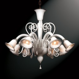 """Isabella"" 8 lights white Murano glass chandelier"