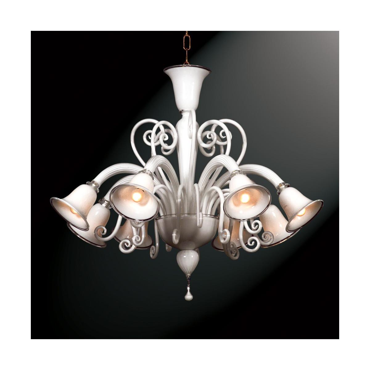 """Isabella"" lustre en verre de Murano blanc 8 lumières"