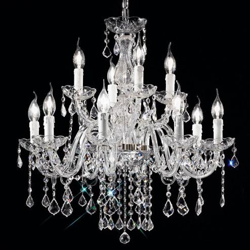 """""""Alfieri"""" lustre vénitienne en cristal - 8+4 lumières - transparent avec Asfour cristal"""