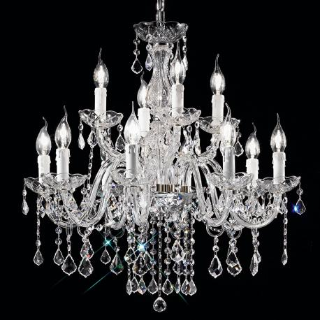 """Alfieri"" venetian crystal chandelier - 8+4 lights - transparent with Asfour venetian crystal"