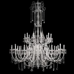 """Agostini"" venetian crystal chandelier - 10+10+10 lights - transparent with Asfour venetian crystal"