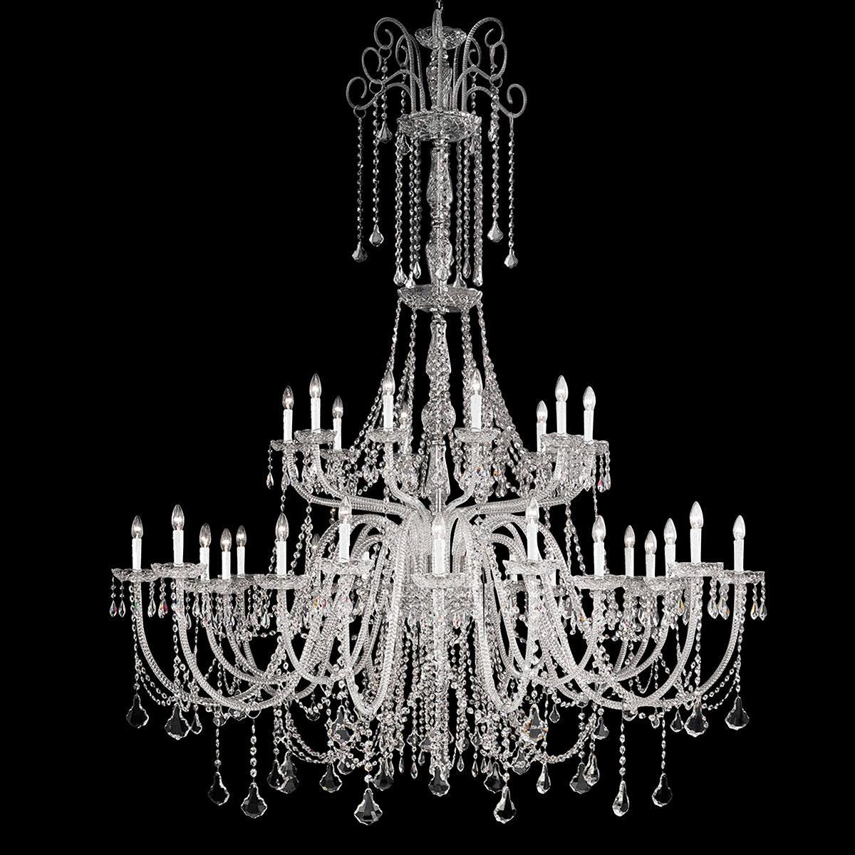 """""""Agostini"""" lampara veneciana en cristal - 10+10+10 luces - transparente con cristal Asfour"""