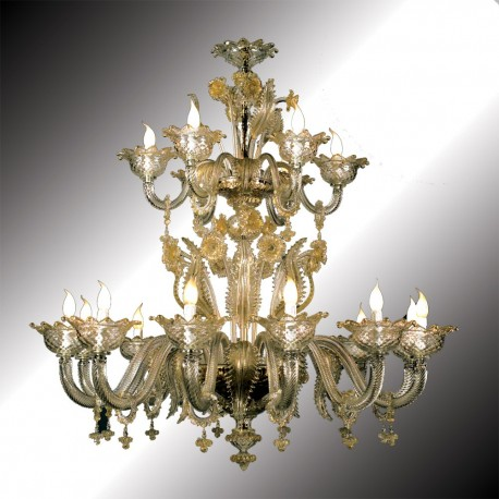 """Torcello"" 12 + 6 lights transparent and gold Murano glass chandelier"