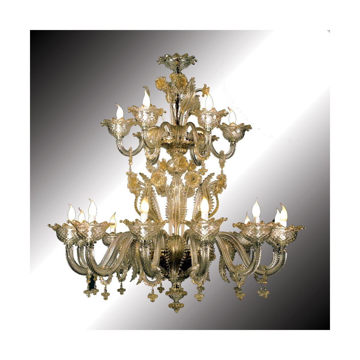 """""""Torcello"""" lustre en verre de Murano transparent et or 12 + 6 lumières"""