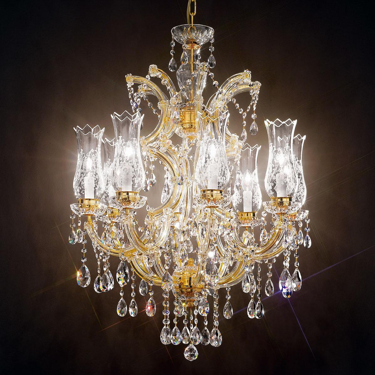 """""""Michelangelo"""" lampara veneciana en cristal - 8 luces - transparente con cristal Asfour"""