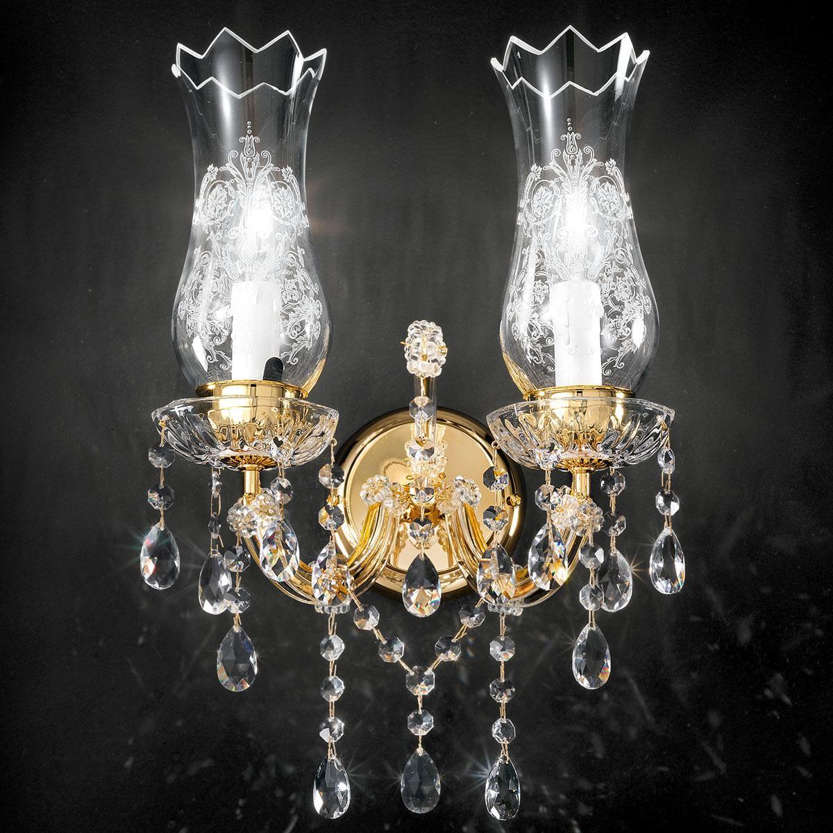 """""""Michelangelo"""" applique vénitienne en cristal - 2 lumières - transparent avec Asfour cristal"""