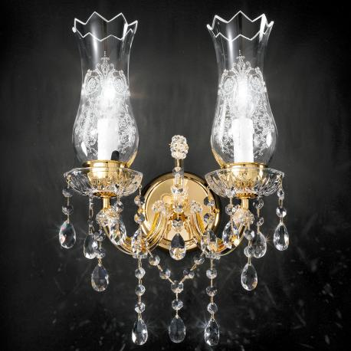 """""""Michelangelo"""" venezianischer kristall wandleuchte - 2 flammig - transparent mit kristal Asfour"""