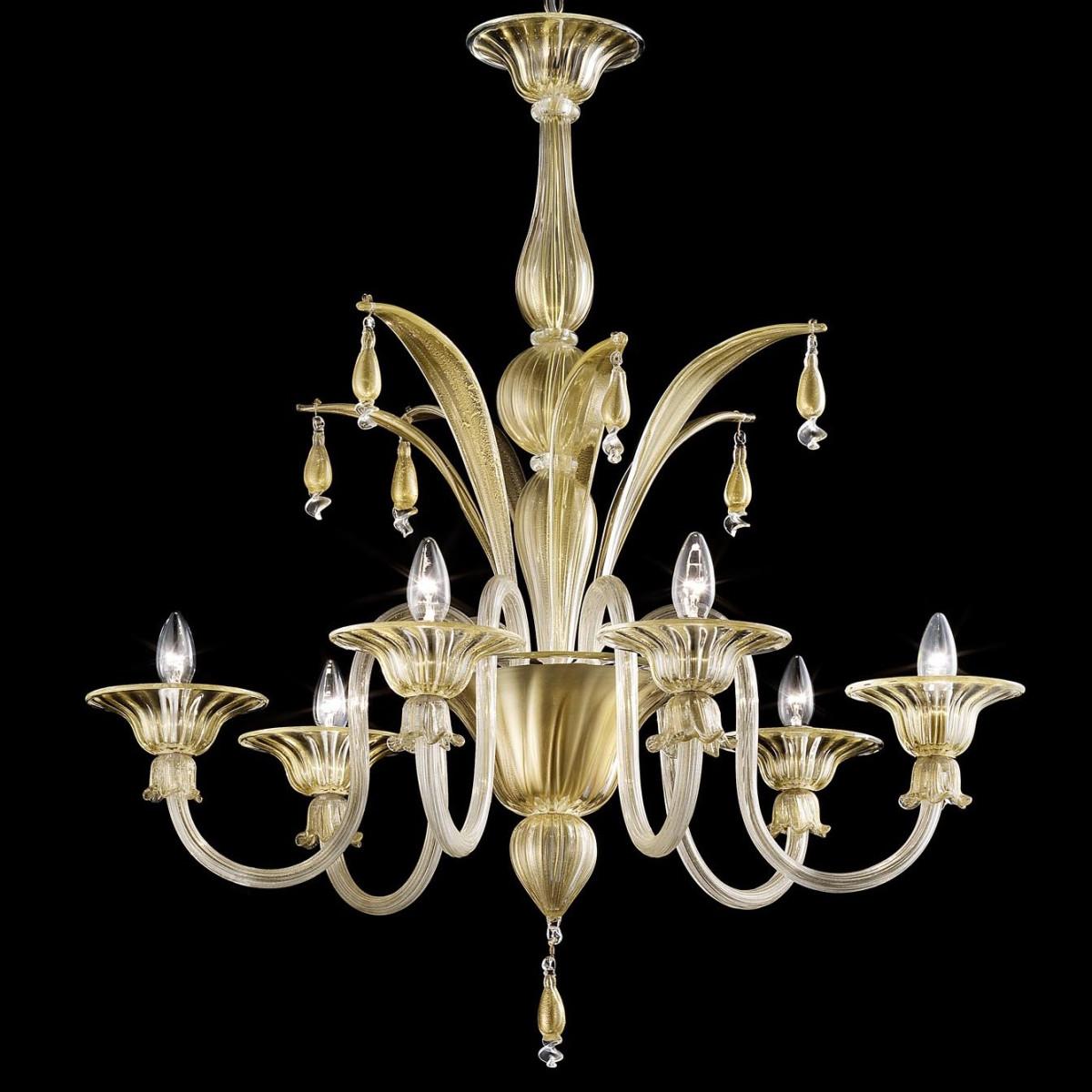 """""""Incanto"""" lustre en verre de Murano 6 lumières - or et transparent"""
