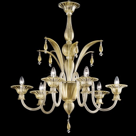 """Incanto"" 6 lights Murano glass chandelier - gold and transparent"