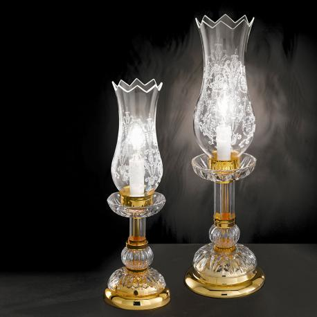 """Michelangelo"" venetian crystal bedside lamp - 1 light - transparent with Asfour venetian crystal"