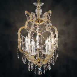 """Baricco"" venetian crystal chandelier - 5 lights - transparent with Swarovski pendants"