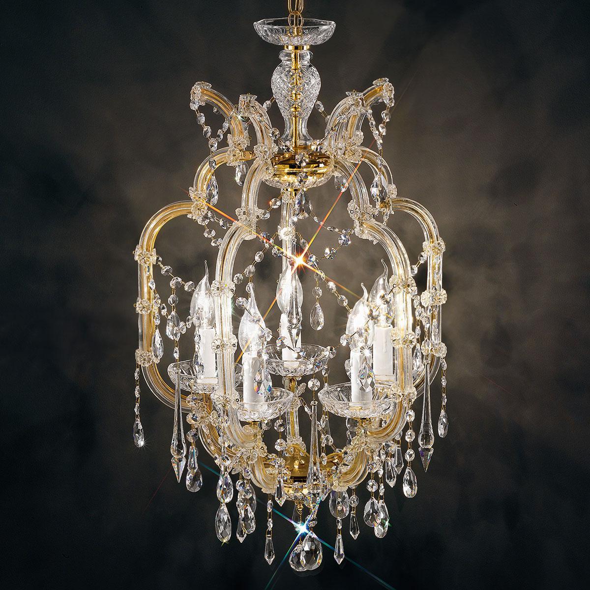 """""""Baricco"""" lampara veneciana en cristal - 5 luces - transparentecon Swarovski colgantes"""