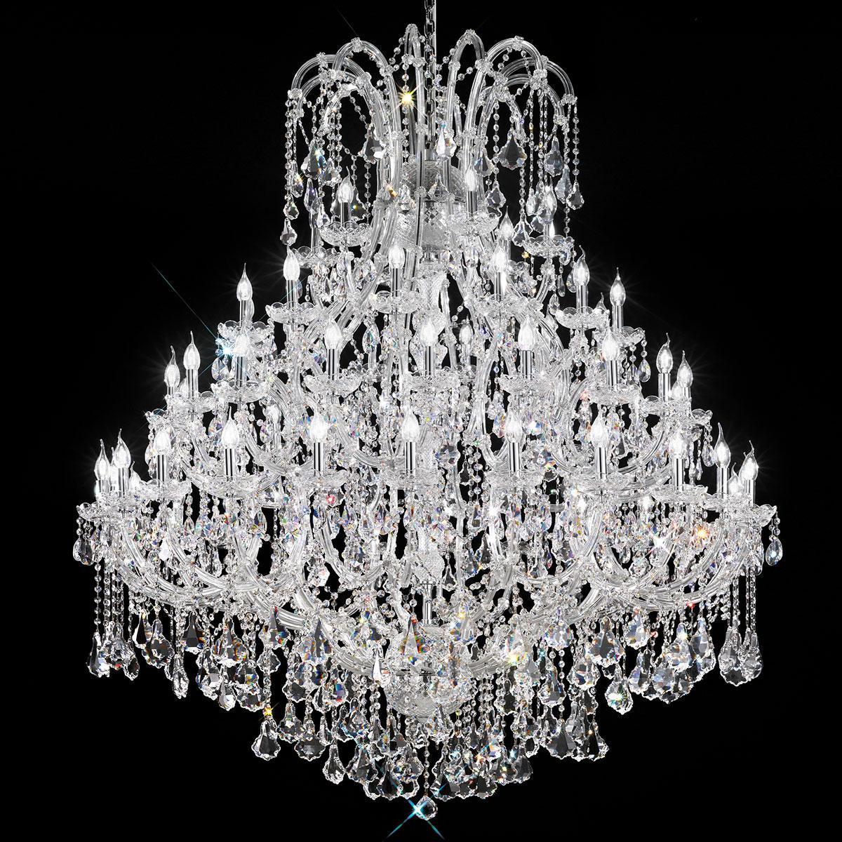 """""""Canaletto"""" lampara veneciana en cristal - 60 luces - transparente con cristal Asfour"""