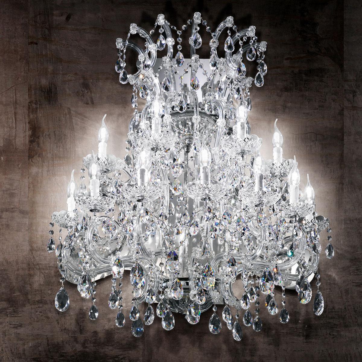 """Canaletto"" venezianischer kristall wandleuchte  - 11 flammig - transparent"