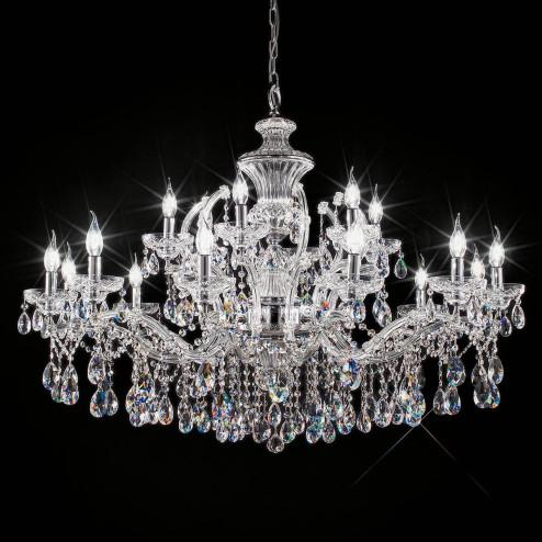 """Boccioni"" lampara veneciana en cristal - 12+6 luces - transparente con cristal Asfour"