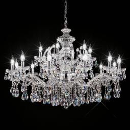 """Boccioni"" venetian crystal chandelier - 12+6 lights - transparent with Asfour venetian crystal"