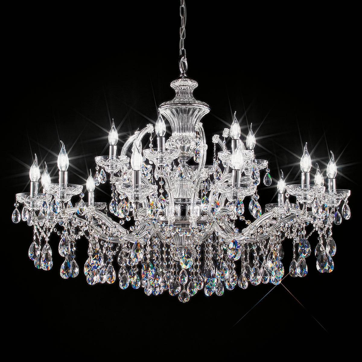 """""""Boccioni"""" lustre vénitienne en cristal - 12+6 lumières - transparent avec Asfour cristal"""
