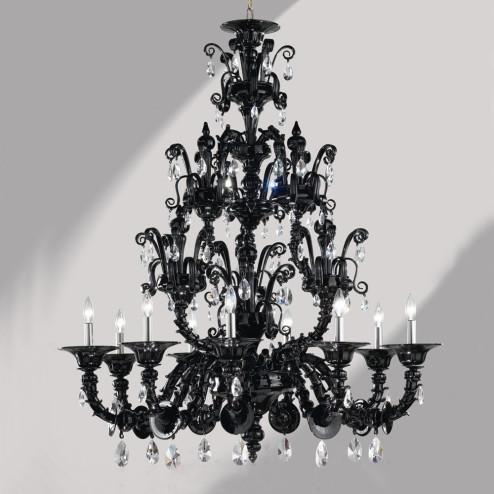 """""""Dorsoduro"""" lustre en verre de Murano noir Rezzonico"""