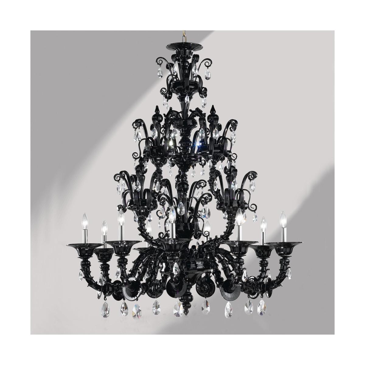 """Dorsoduro"" lustre en verre de Murano noir Rezzonico 9 lumières"