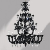 """Dorsoduro"" 9 lights black Rezzonico Murano glass chandelier"