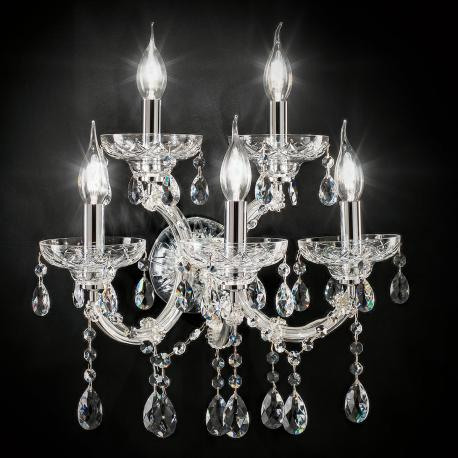 """Boccioni"" venetian crystal wall sconce - 3+2 lights - transparent with Asfour venetian crystal"