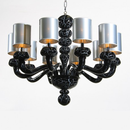 """Morosini"" 10 lights black marble Murano glass chandelier"