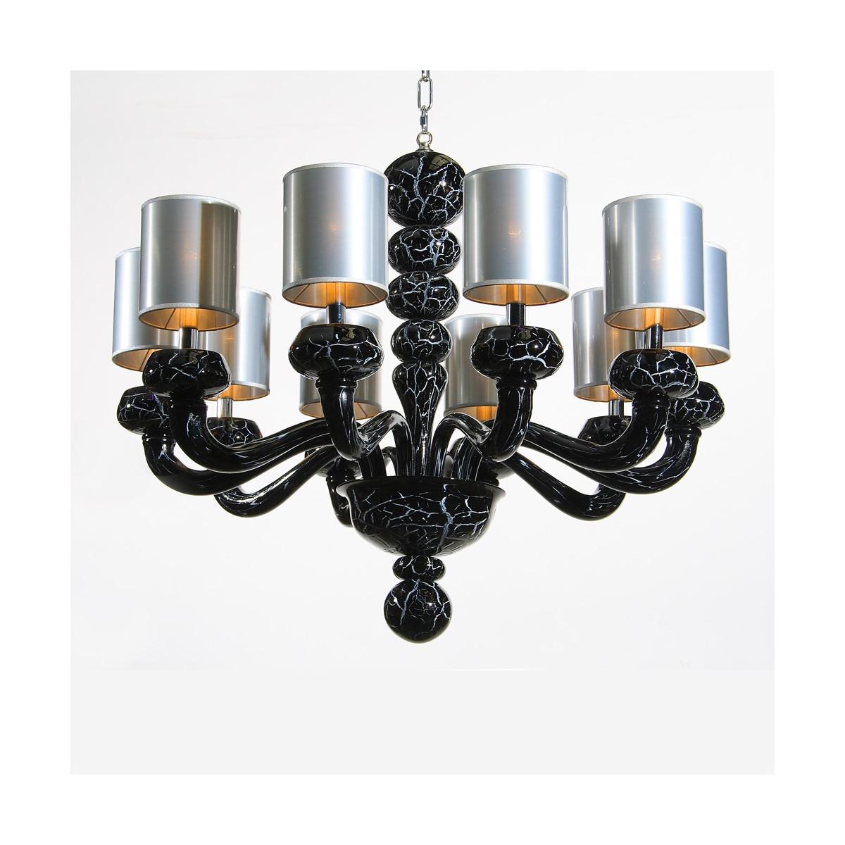 """""""Morosini"""" 10 lights black marble Murano glass chandelier"""