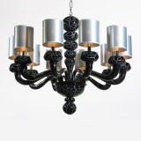 """Morosini"" black marble Murano glass chandelier"