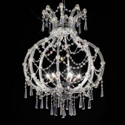 """Modigliani"" venetian crystal pendant light - 6 lights - transparent with Asfour venetian crystal"