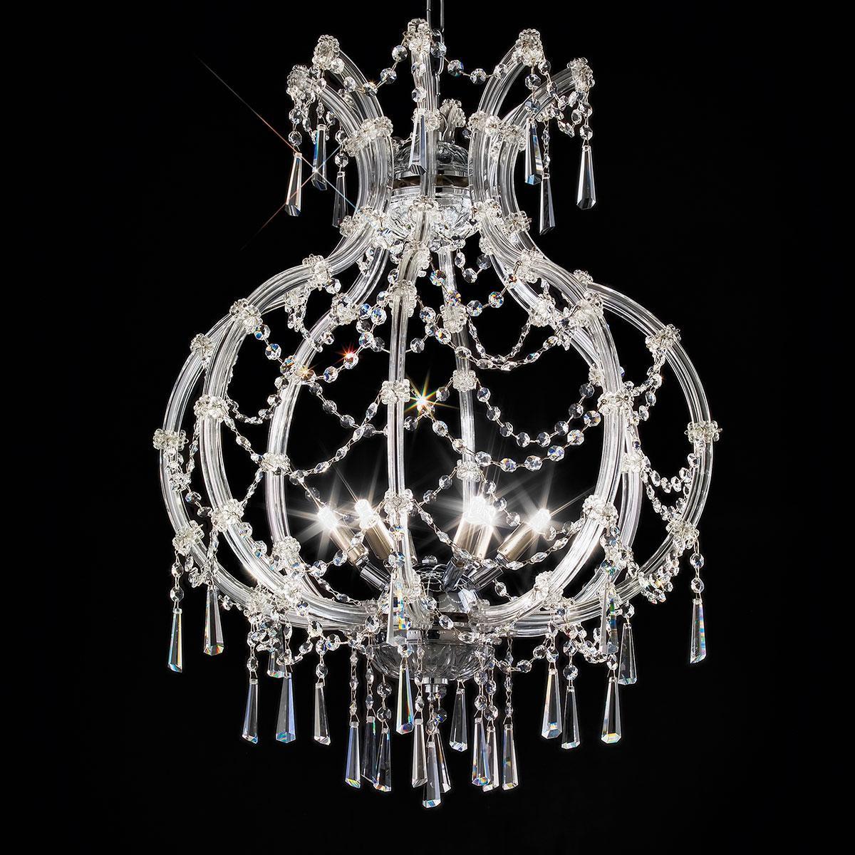 """""""Modigliani"""" suspension vénitienne en cristal - 6 lumières - transparent avec Asfour cristal"""