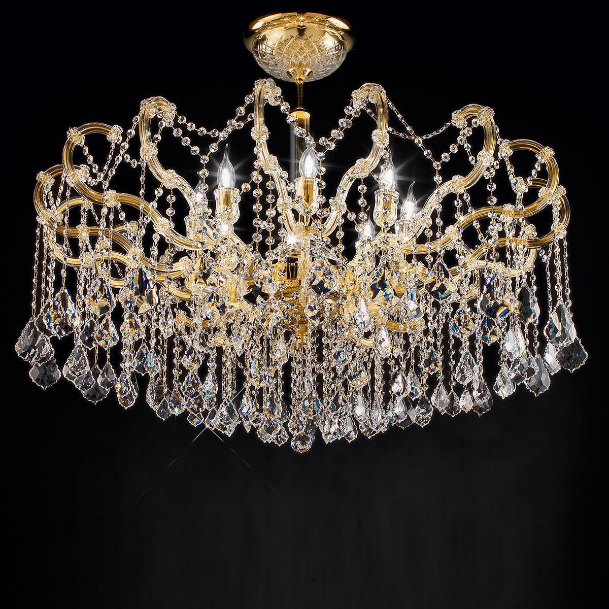 """""""Arcimboldo"""" lampara veneciana de techo en venetian crystal - 8 luces - transparente con cristal Asfour"""