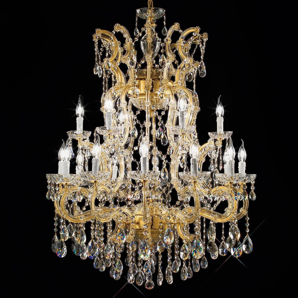 """""""Dazzi"""" lampara veneciana en cristal - 12+6 luces - transparente con cristal Asfour"""