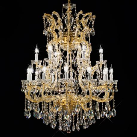 """Dazzi"" venetian crystal chandelier - 12+6 lights - transparent with Asfour venetian crystal"