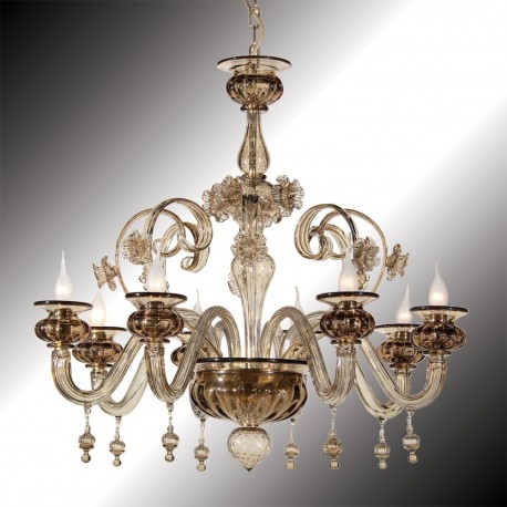 """San Polo"" 8 lights smoky grey Murano glass chandelier"