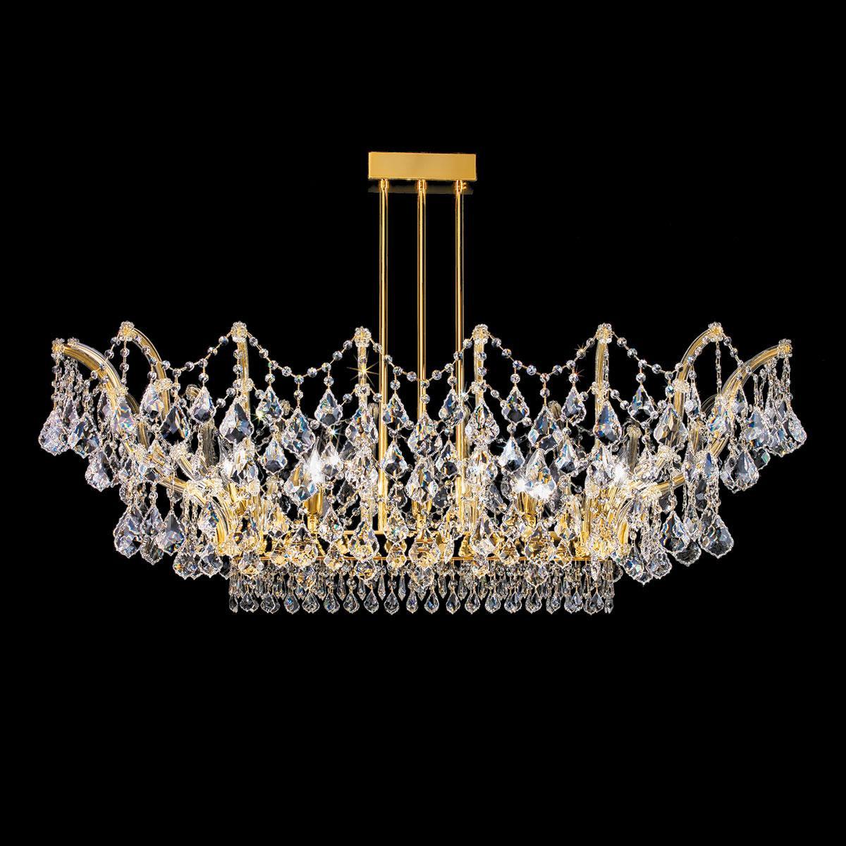 """""""Apicella"""" plafonnier vénitienne en cristal - 12 lumières - transparent avec Asfour cristal"""