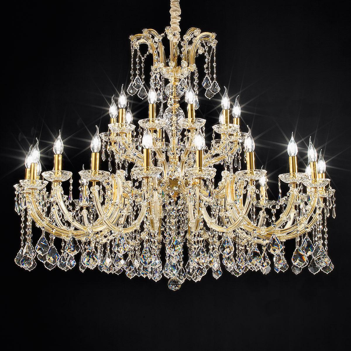 """""""Spilimbergo"""" lustre vénitienne en cristal - 20+10 lumières - transparent avec Asfour cristal"""