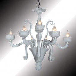 """Nuvola"" 9 lights white Murano glass chandelier"