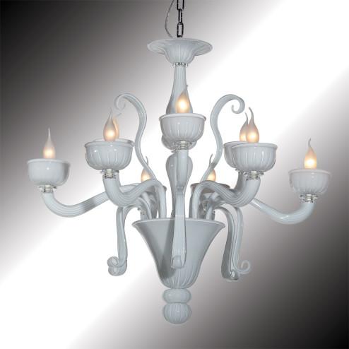 """""""Nuvola bianca"""" white Murano glass chandelier"""