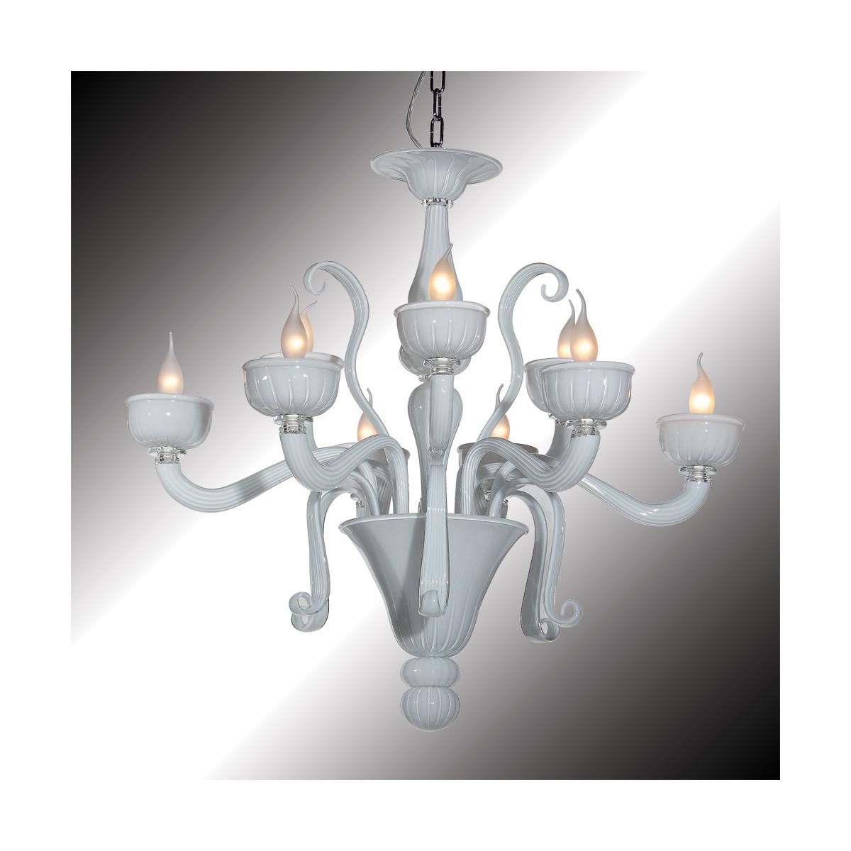 """""""Nuvola"""" lustre blanc en verre de Murano 9 lumières"""