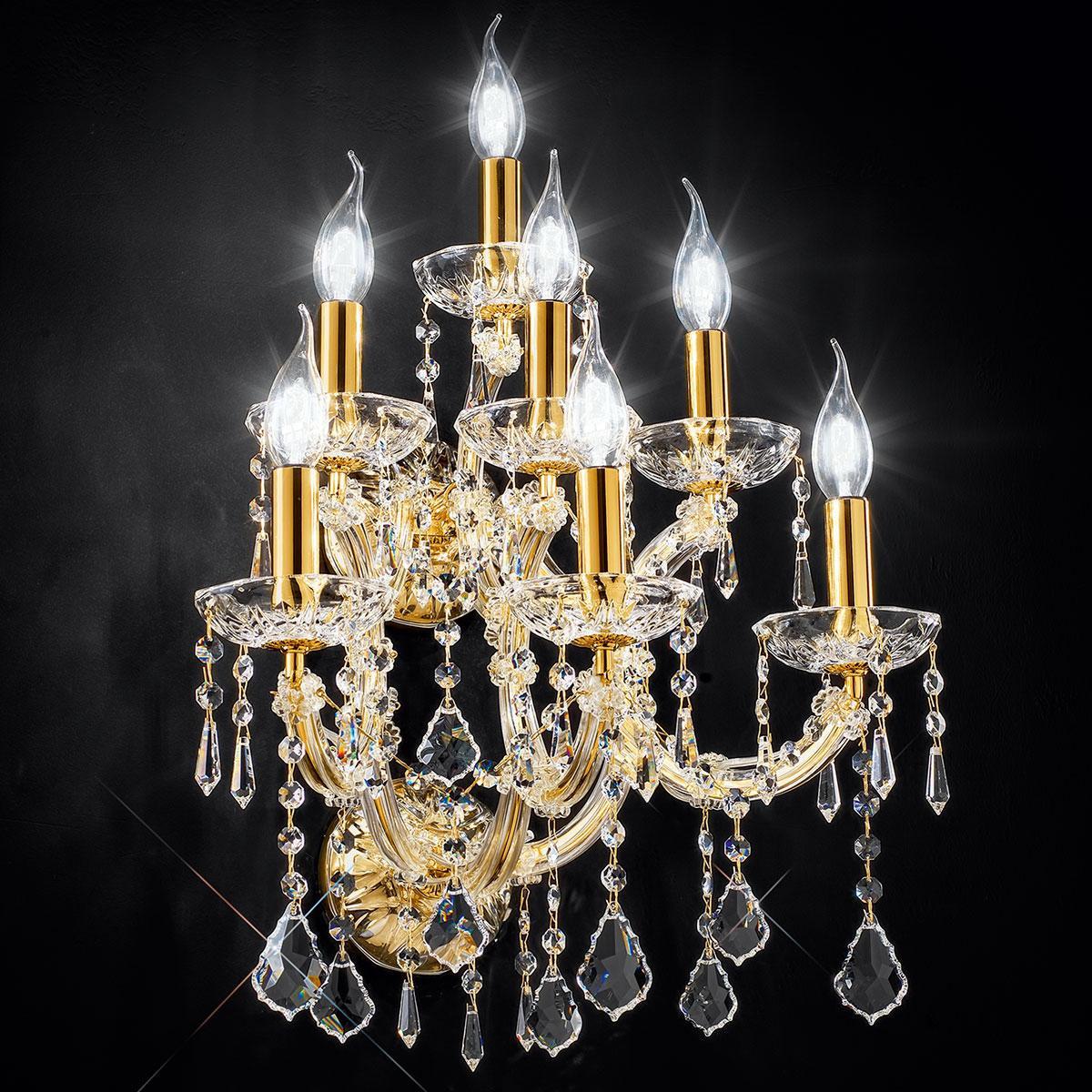 """Spilimbergo"" aplique veneciano de pared en cristal - 3+3+1 luces - transparent con cristal Asfour"